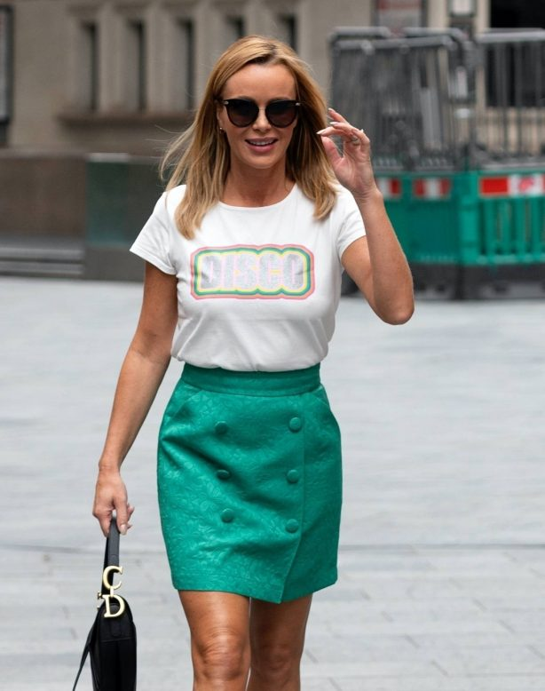 Amanda Holden - In a green mini skirt out in London