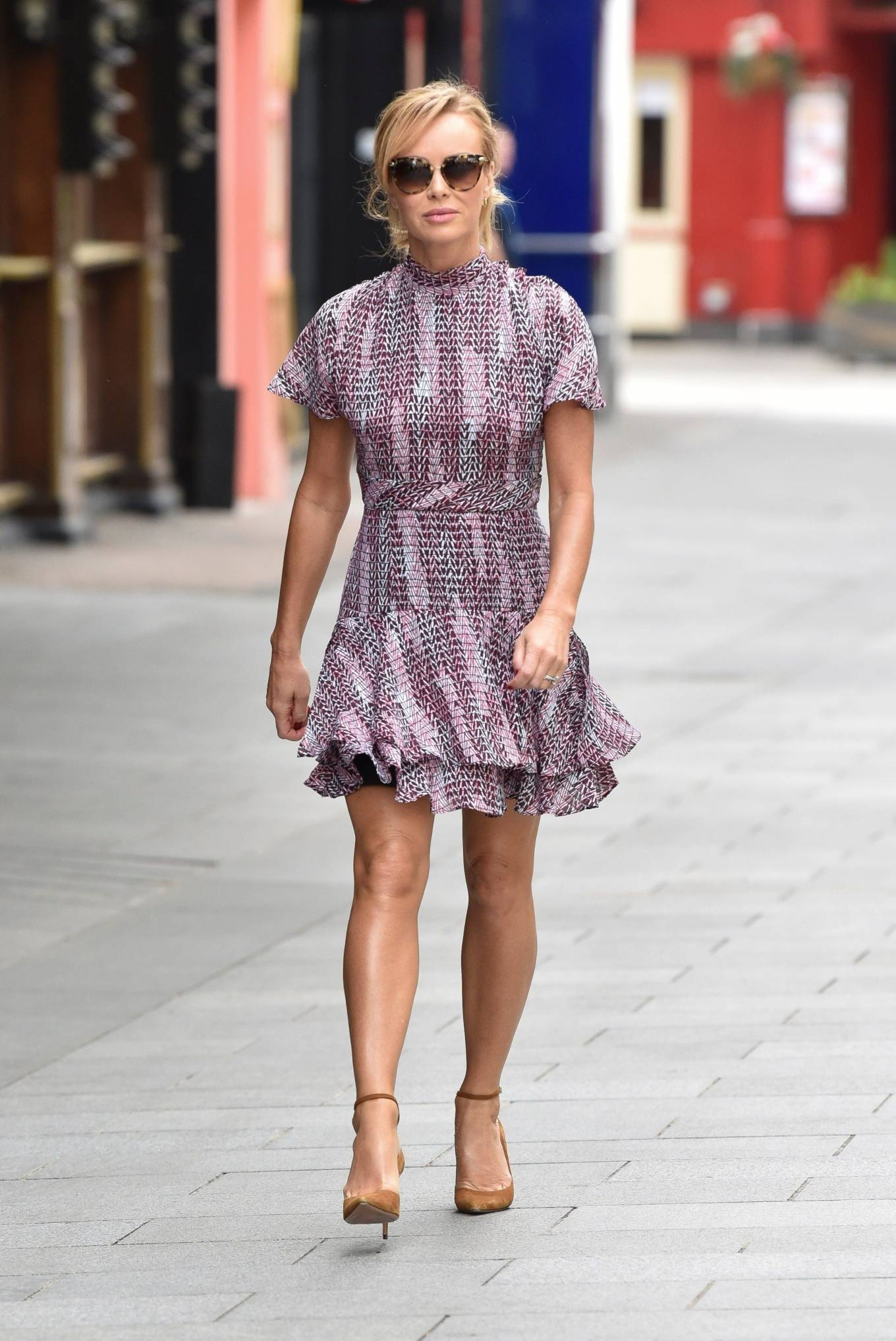 Amanda Holden 2020 : Amanda Holden – In a layered ruffle mini dress at Heart Radio Studios in London -04