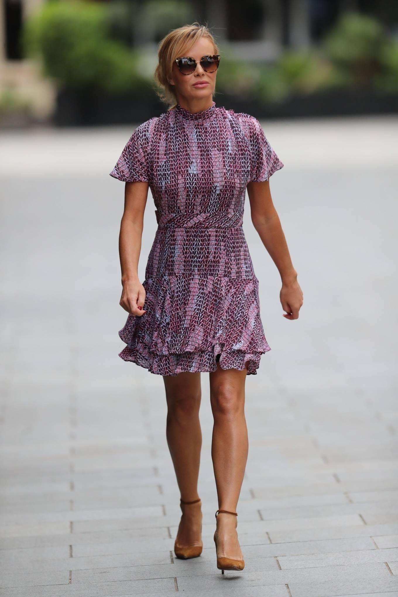 Amanda Holden 2020 : Amanda Holden – In a layered ruffle mini dress at Heart Radio Studios in London -09