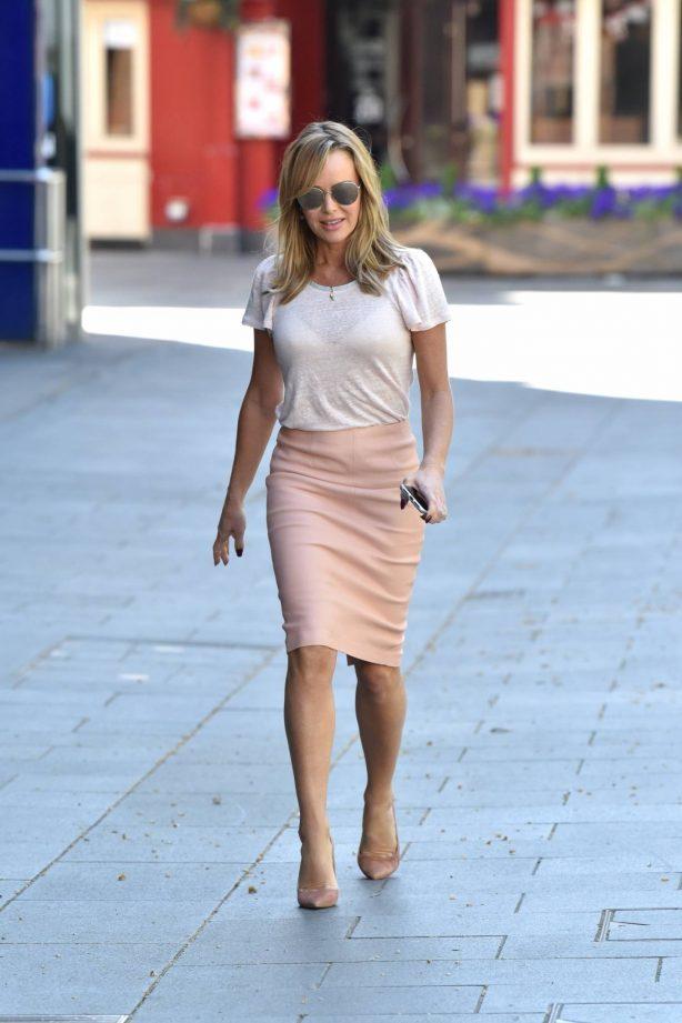 Amanda Holden - In a skirt leaving Global Studios in London