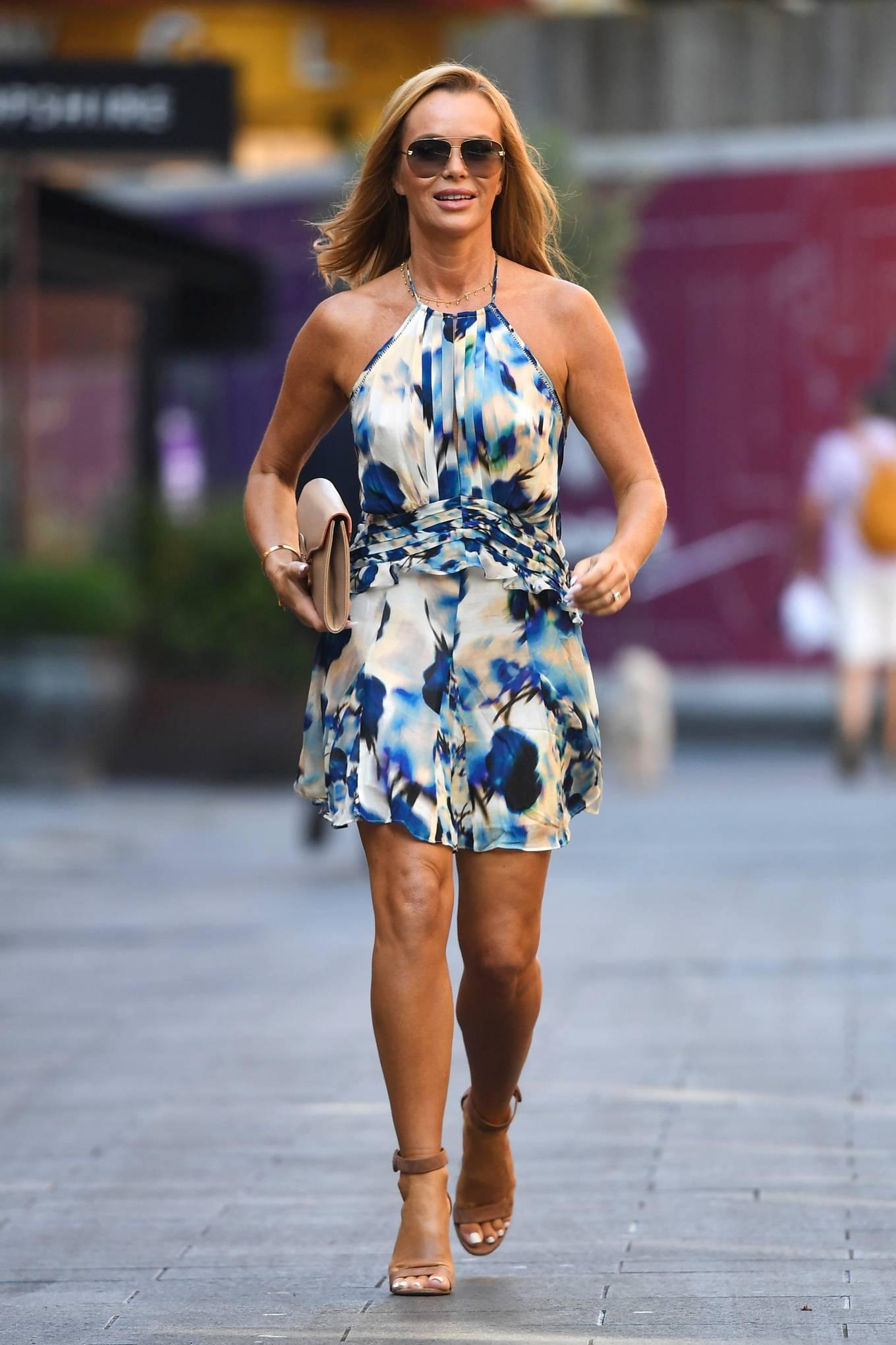 Amanda Holden 2021 : Amanda Holden – In a sky blue summer dress is seen at Global Radio Studios in London-06