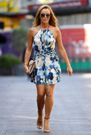 Amanda Holden - In a sky blue summer dress is seen at Global Radio Studios in London