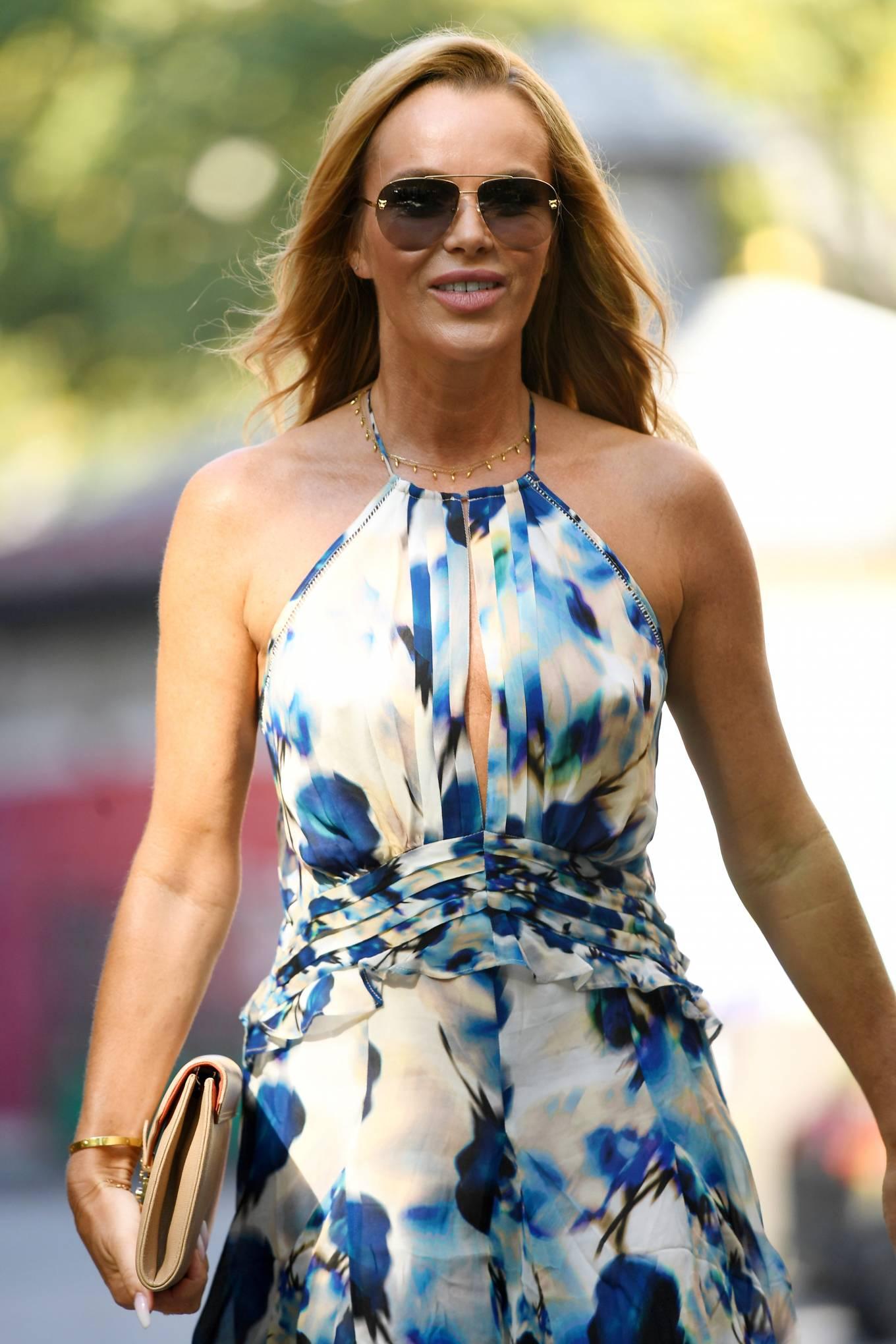 Amanda Holden 2021 : Amanda Holden – In a sky blue summer dress is seen at Global Radio Studios in London-09