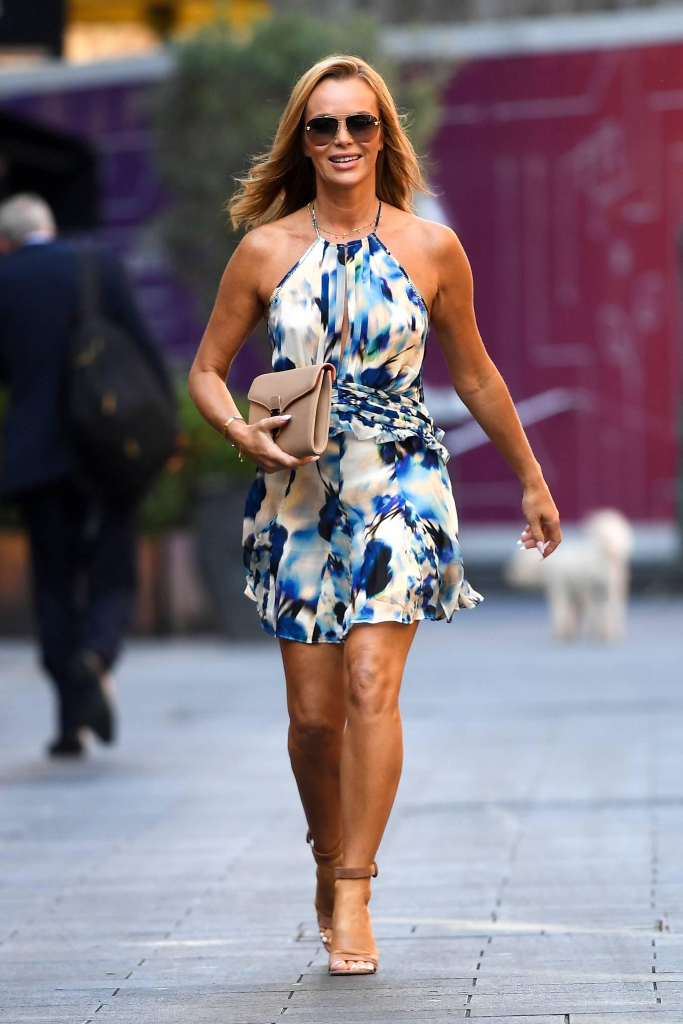 Amanda Holden 2021 : Amanda Holden – In a sky blue summer dress is seen at Global Radio Studios in London-14