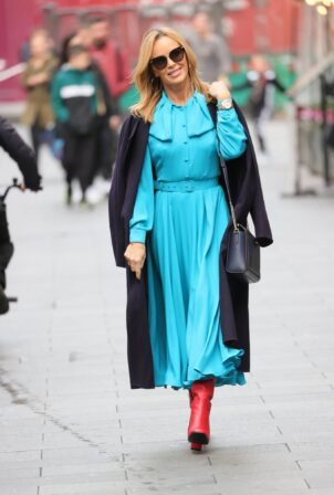 Amanda Holden - In a striking blue flowing dress at Heart radio in London
