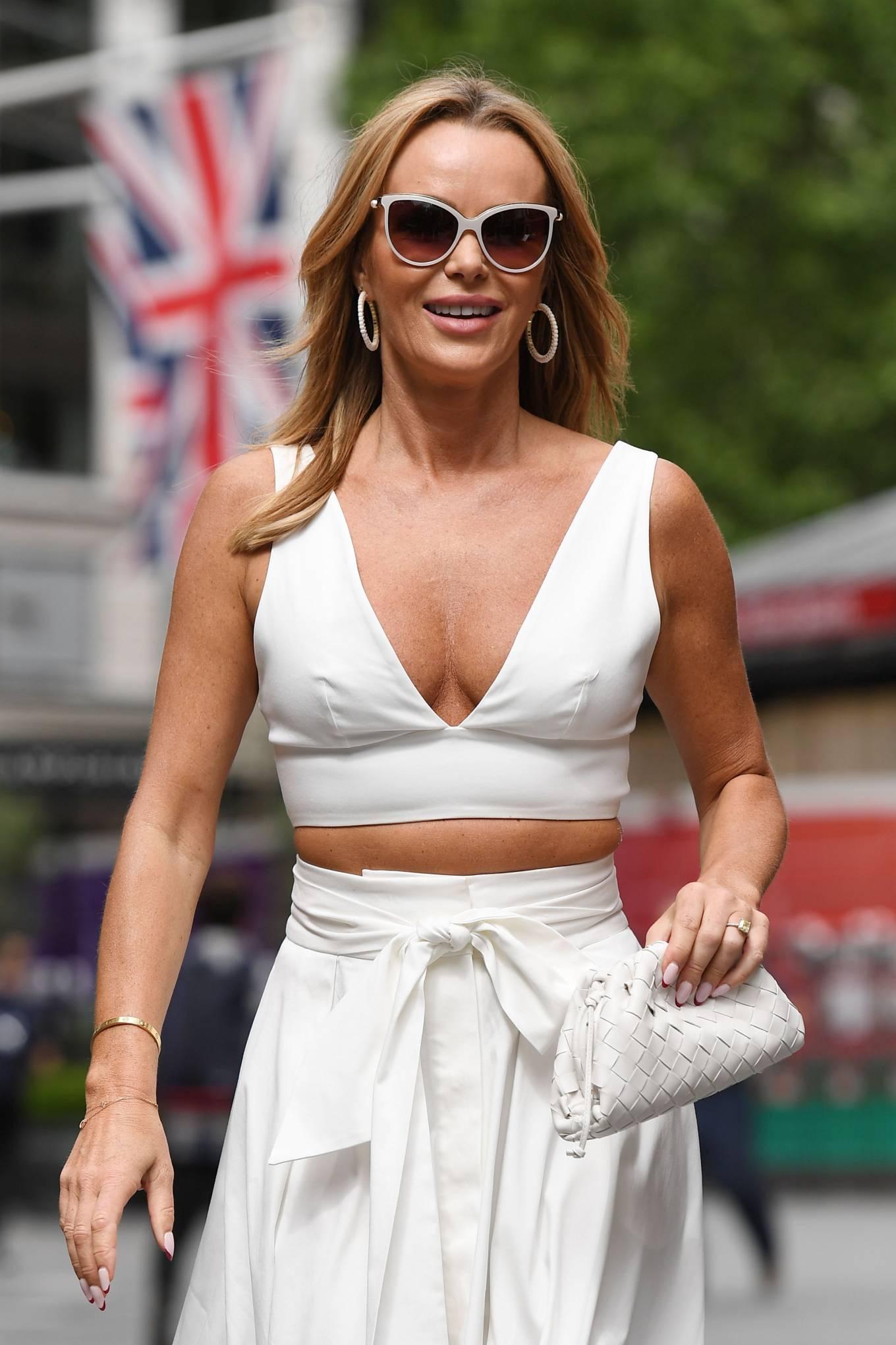 Amanda Holden 2021 : Amanda Holden – In a white dress at Global Studios in London-01