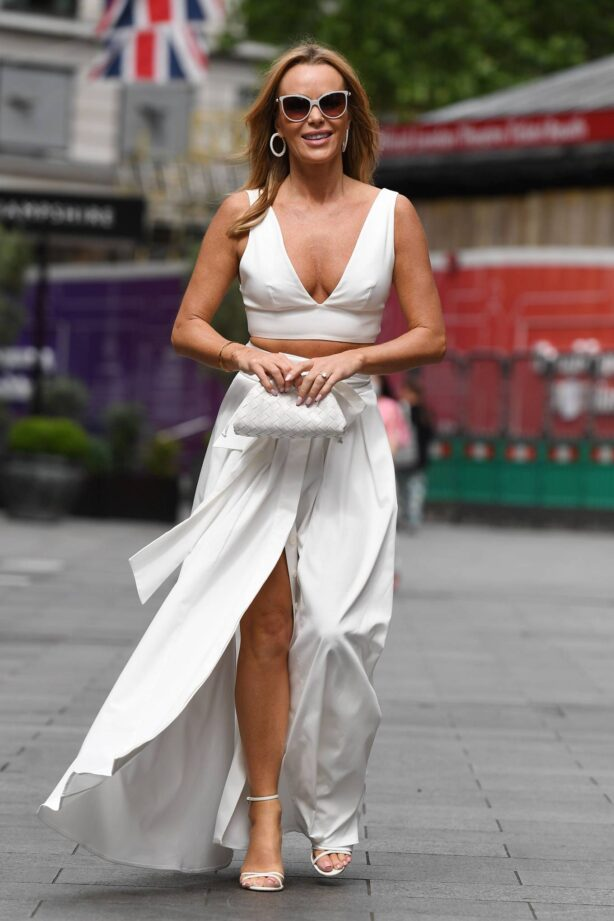 Amanda Holden - In a white dress at Global Studios in London