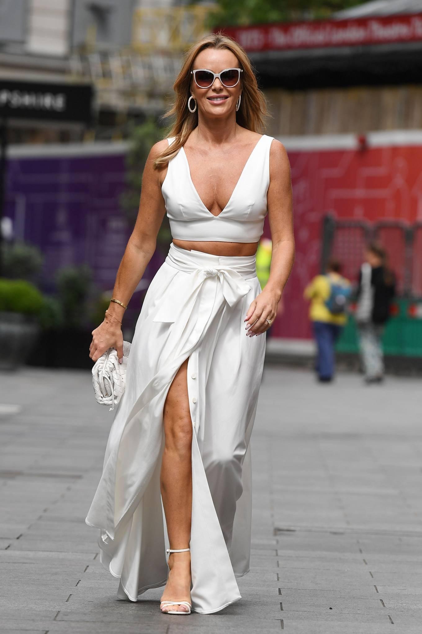 Amanda Holden 2021 : Amanda Holden – In a white dress at Global Studios in London-04