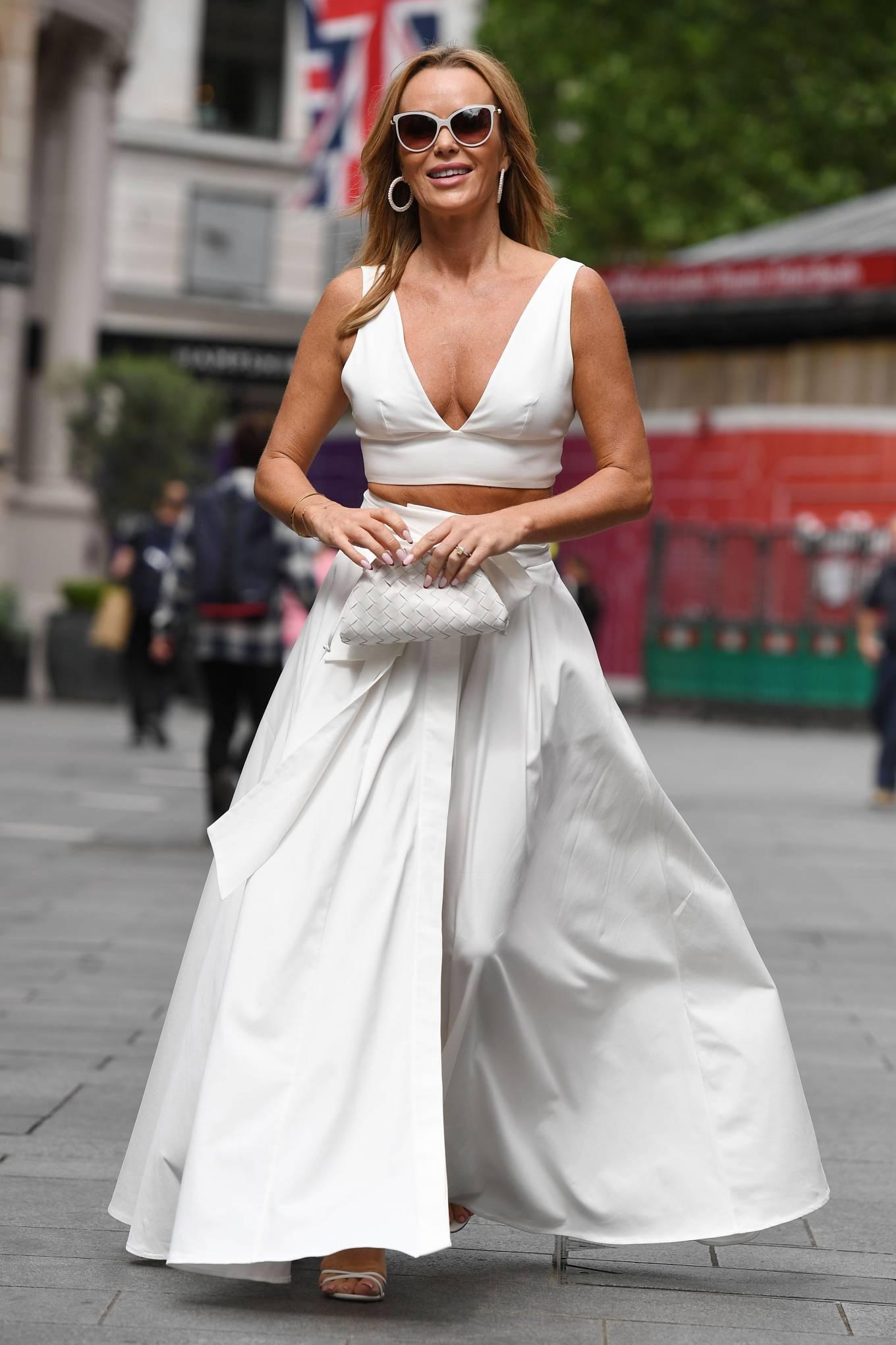 Amanda Holden 2021 : Amanda Holden – In a white dress at Global Studios in London-05