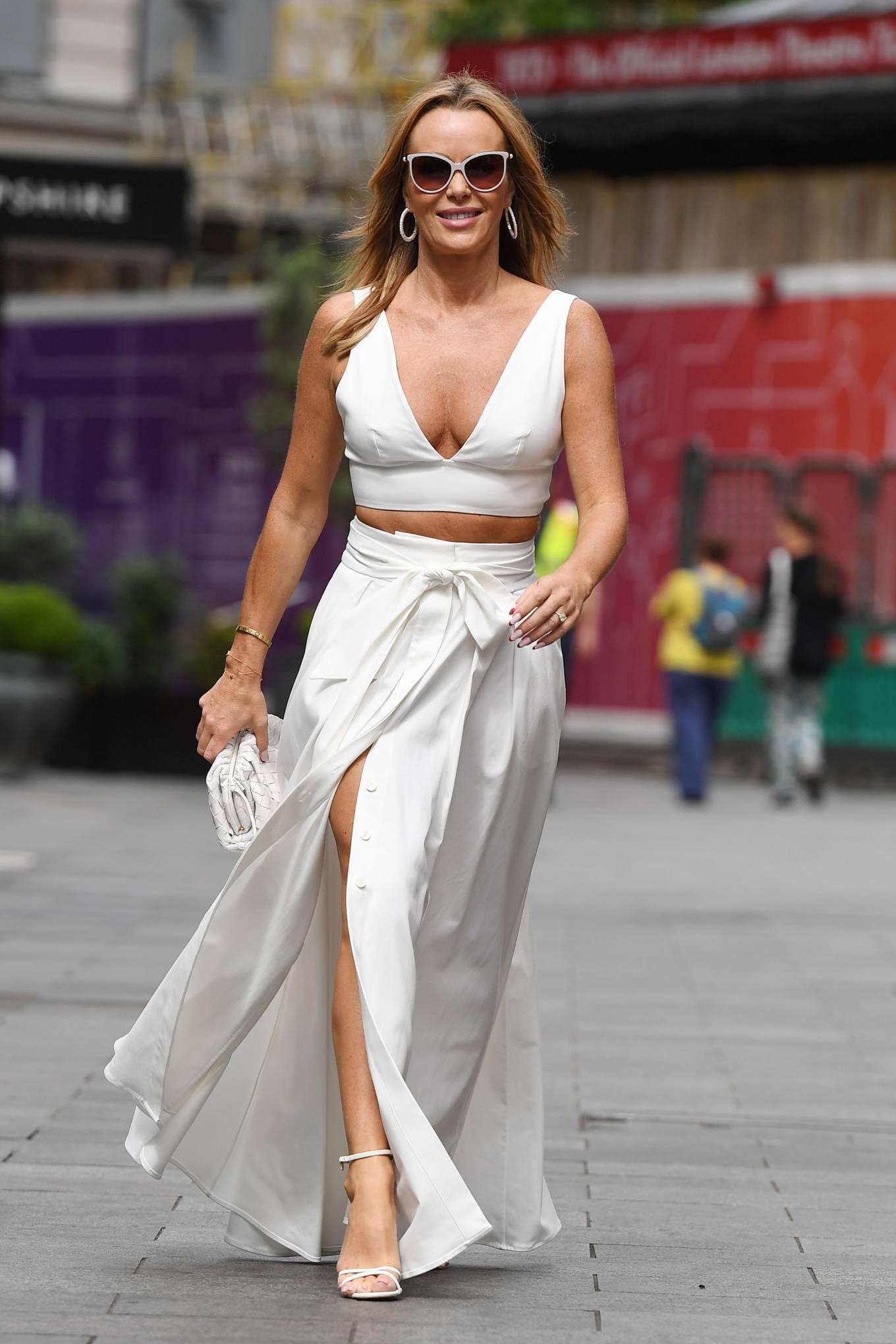 Amanda Holden 2021 : Amanda Holden – In a white dress at Global Studios in London-07