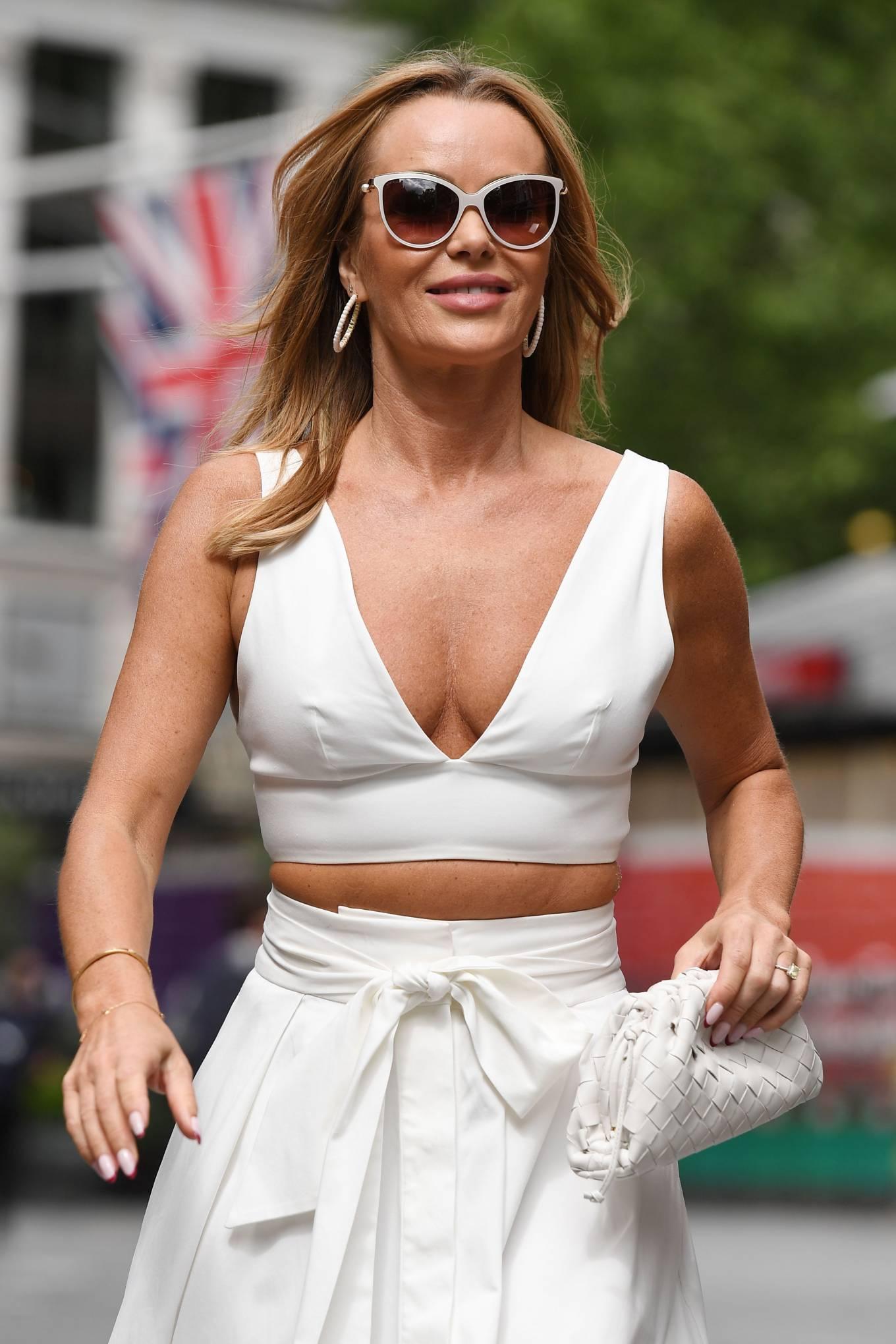 Amanda Holden 2021 : Amanda Holden – In a white dress at Global Studios in London-08