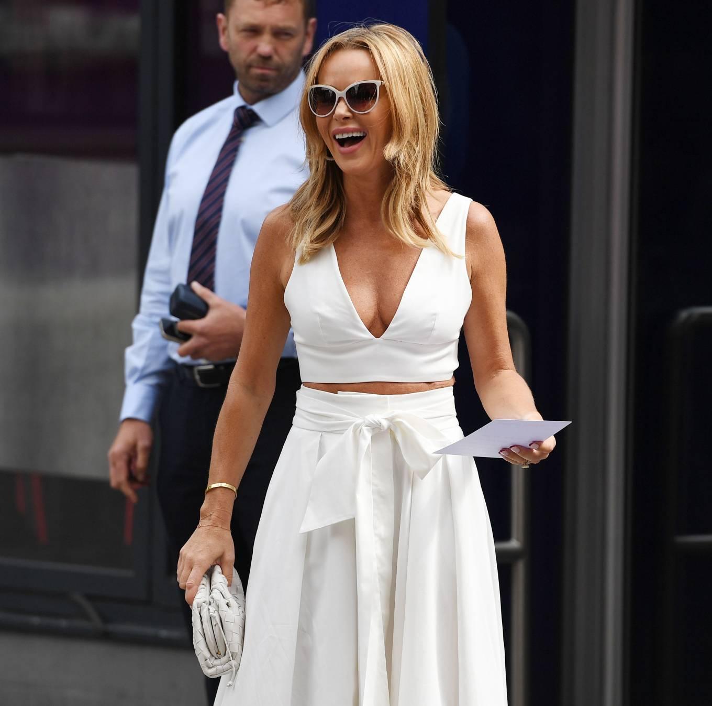 Amanda Holden 2021 : Amanda Holden – In a white dress at Global Studios in London-09