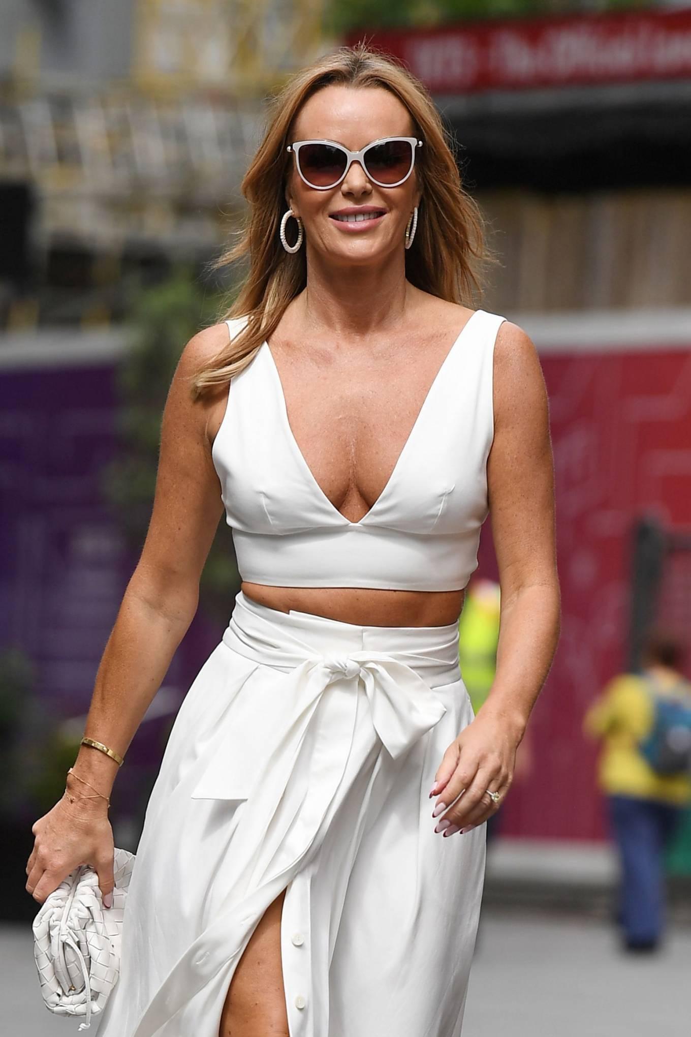 Amanda Holden 2021 : Amanda Holden – In a white dress at Global Studios in London-10