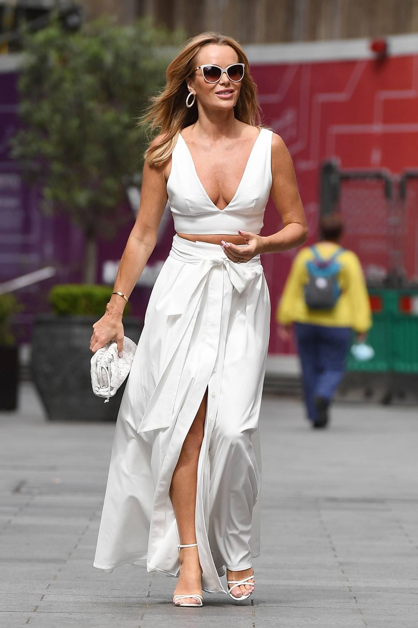 Amanda Holden 2021 : Amanda Holden – In a white dress at Global Studios in London-12