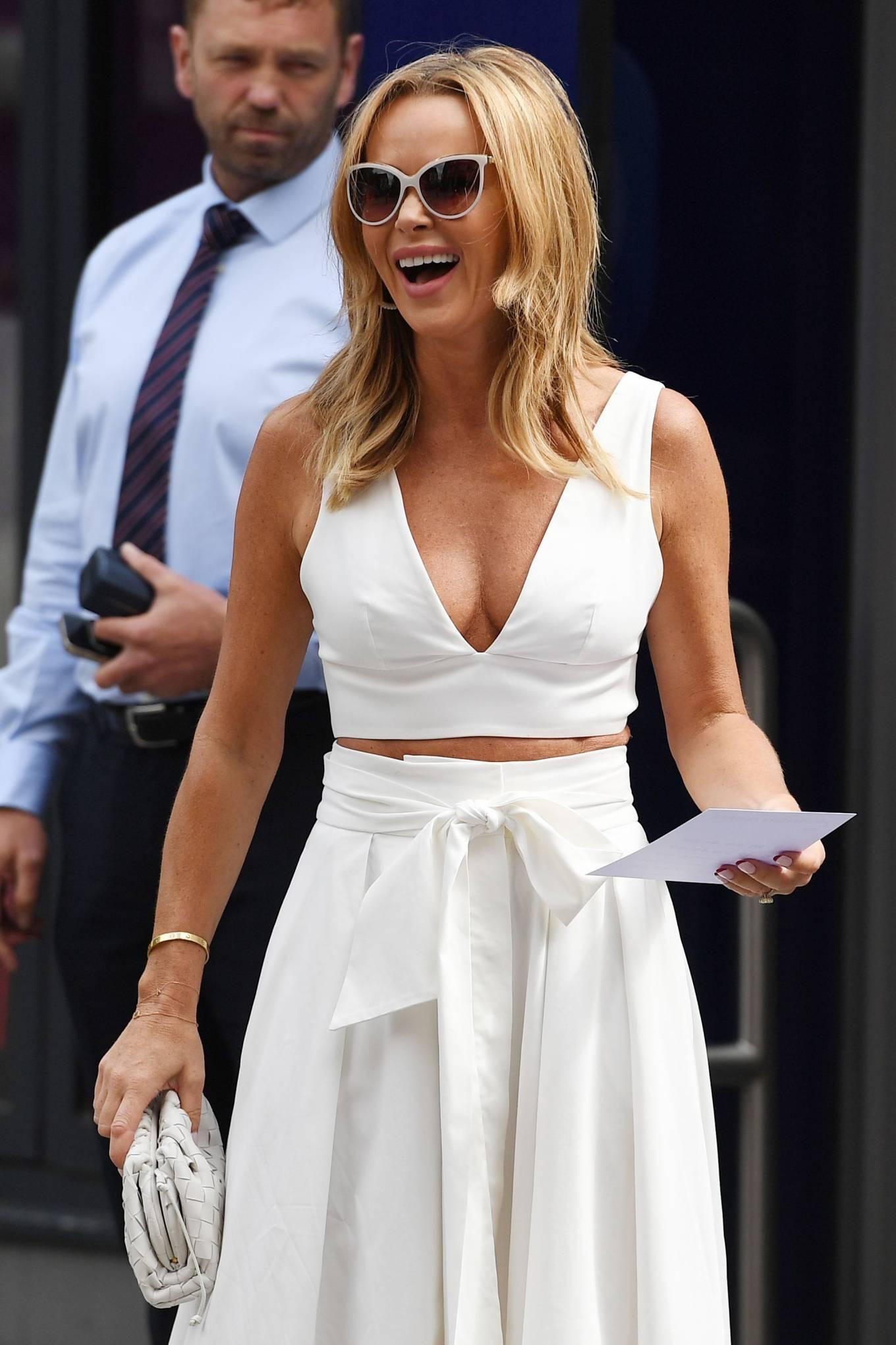 Amanda Holden 2021 : Amanda Holden – In a white dress at Global Studios in London-13