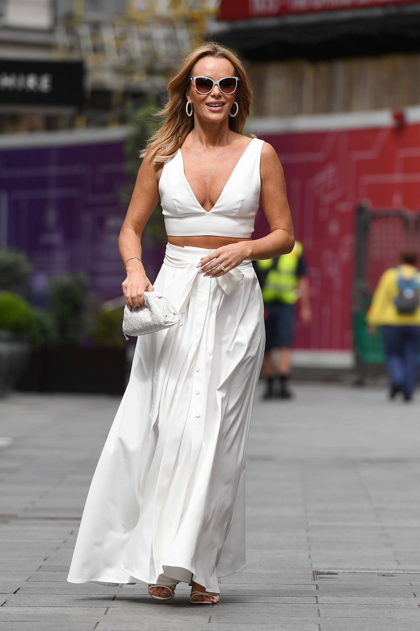 Amanda Holden 2021 : Amanda Holden – In a white dress at Global Studios in London-14