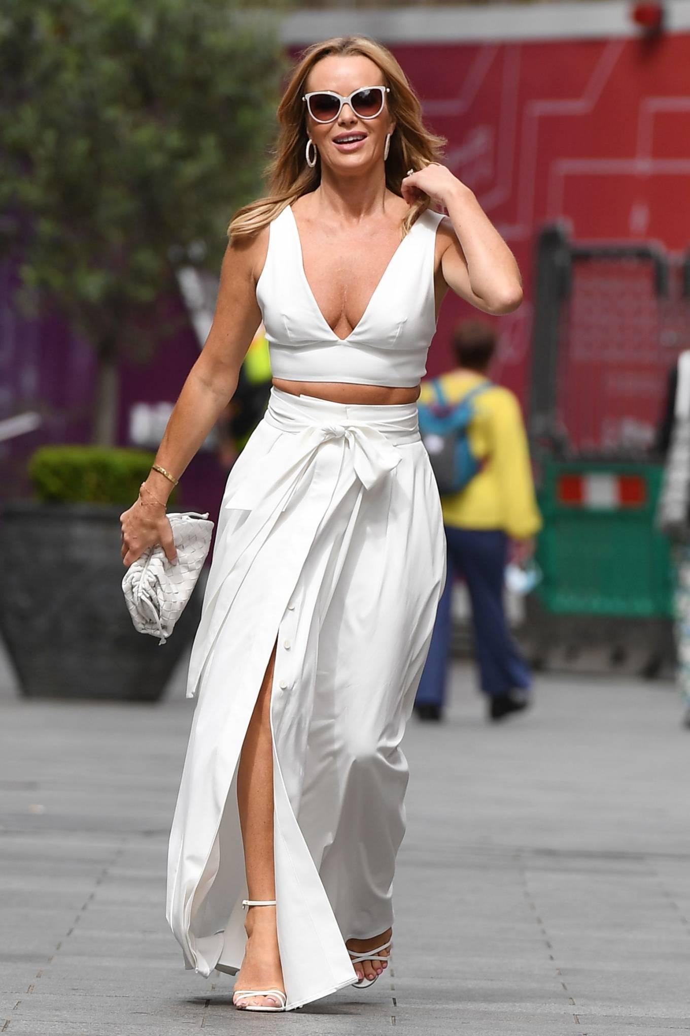 Amanda Holden 2021 : Amanda Holden – In a white dress at Global Studios in London-15