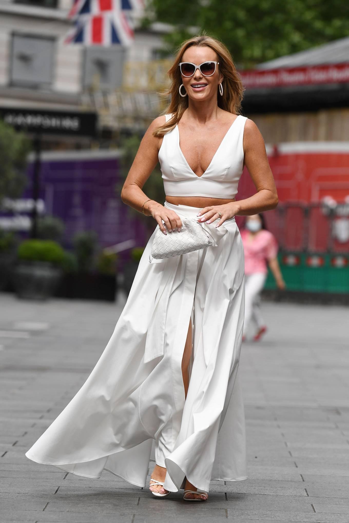 Amanda Holden 2021 : Amanda Holden – In a white dress at Global Studios in London-16