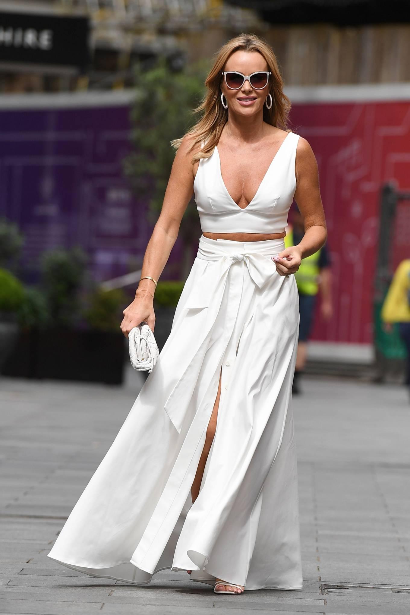 Amanda Holden 2021 : Amanda Holden – In a white dress at Global Studios in London-17