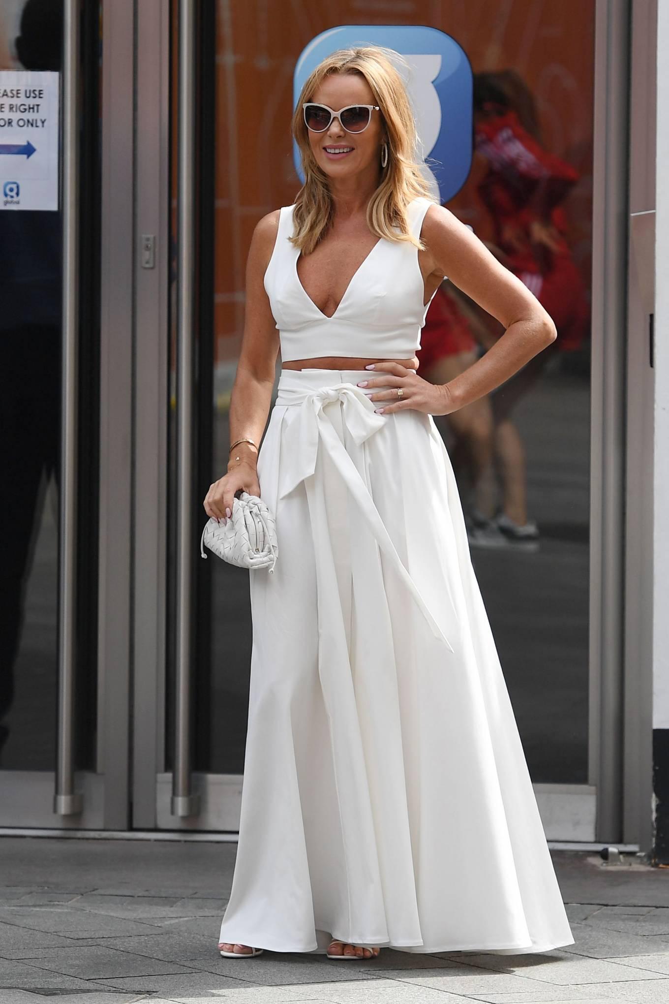 Amanda Holden 2021 : Amanda Holden – In a white dress at Global Studios in London-18