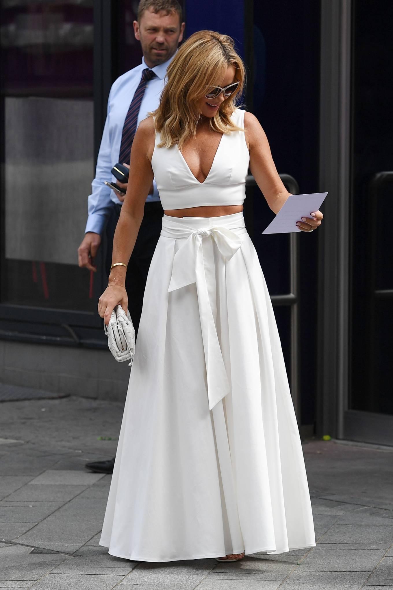 Amanda Holden 2021 : Amanda Holden – In a white dress at Global Studios in London-20