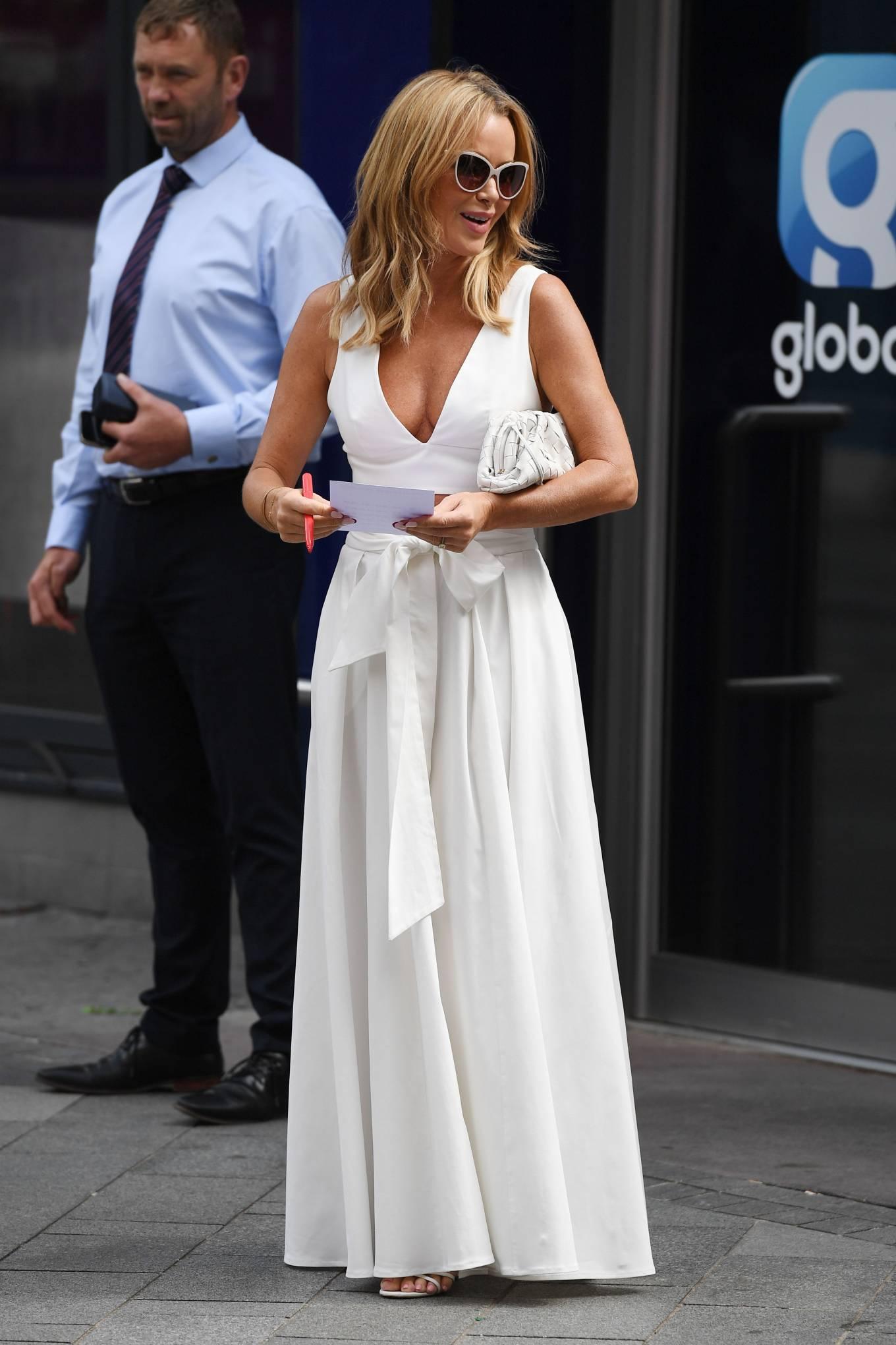 Amanda Holden 2021 : Amanda Holden – In a white dress at Global Studios in London-21