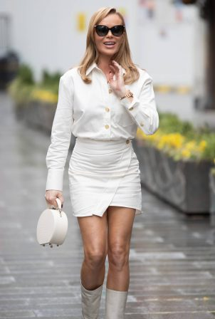 Amanda Holden - In a white miniskirt at Heart Radio Studio in London
