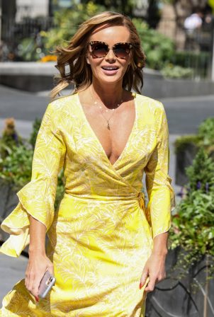 Amanda Holden - In a yellow dress at the Global Radio Studios in London