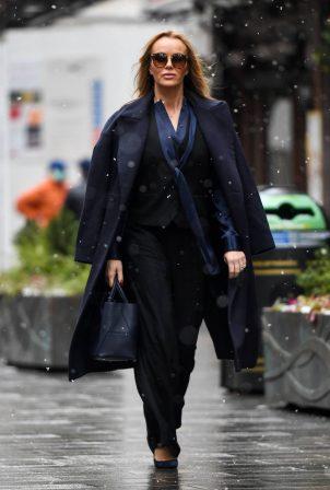 Amanda Holden - In a Zara and Haider Ackerman leaving the Global Radio Studios in London