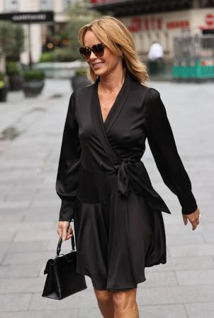 Amanda Holden - In black silky dress in London
