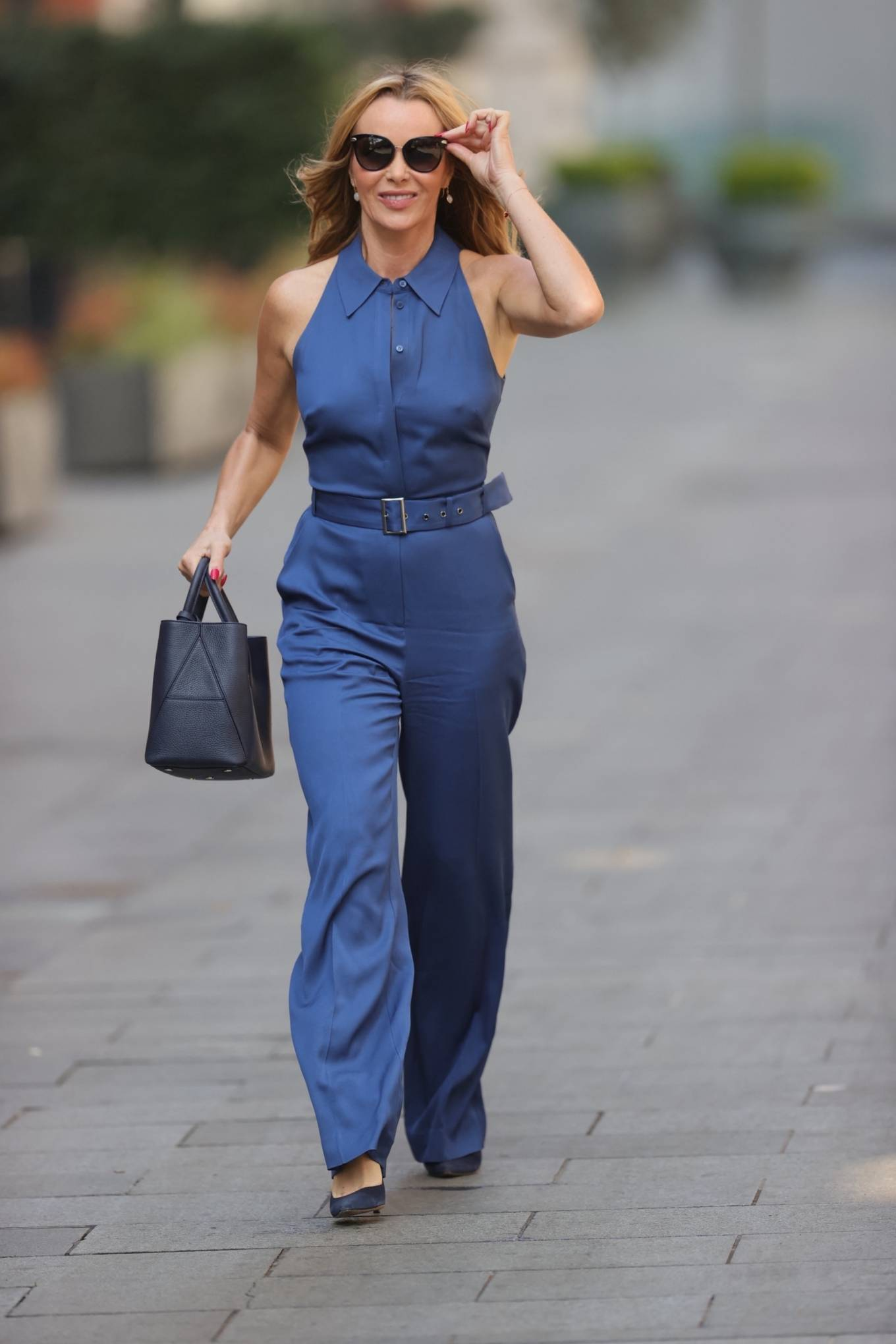 Amanda Holden - In blue cotton jumpsuit at Heart radio in London