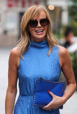 Amanda Holden - In blue dress leaving the Heart Breakfast Show in London