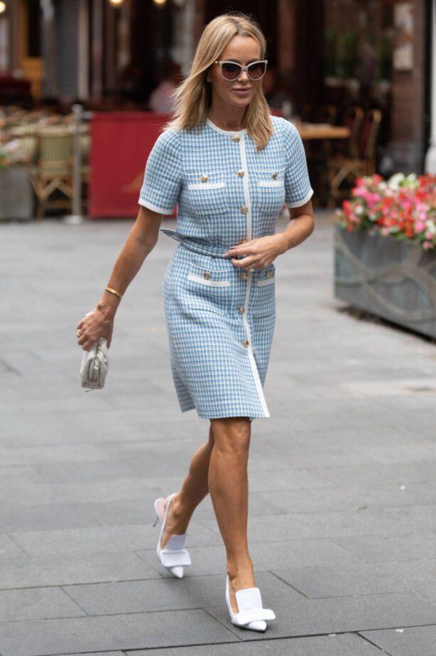 Amanda Holden - In checkered short dress at Heart radio in London