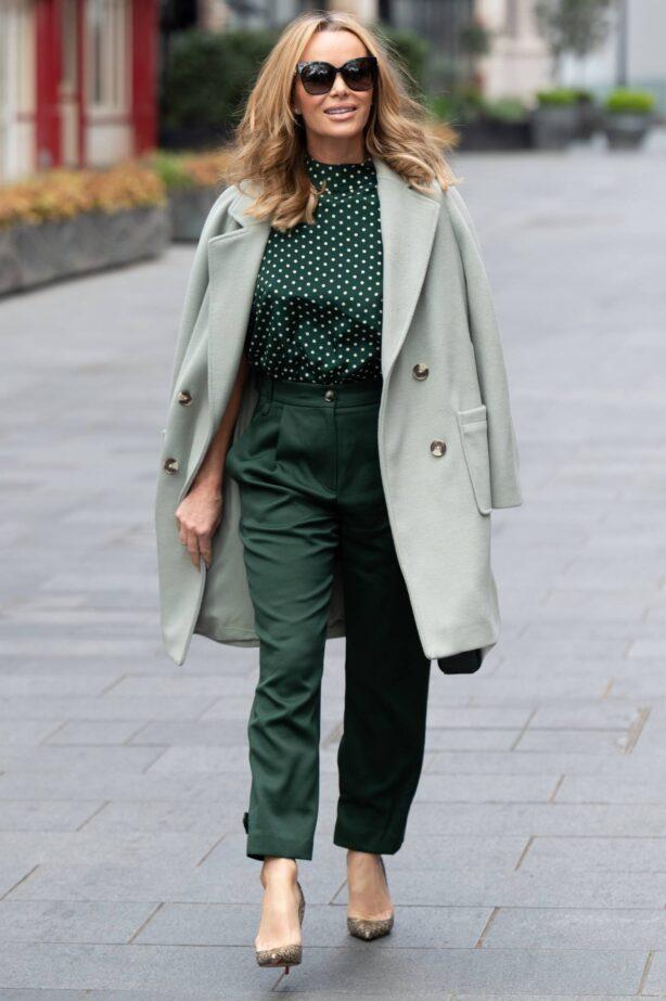 Amanda Holden - In dark greend leaving Global Studios in London