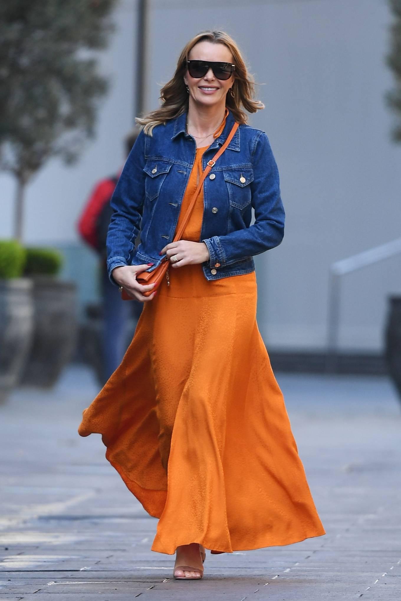 Amanda Holden 2021 : Amanda Holden – In dress leaving the Global Radio Studios in London-01