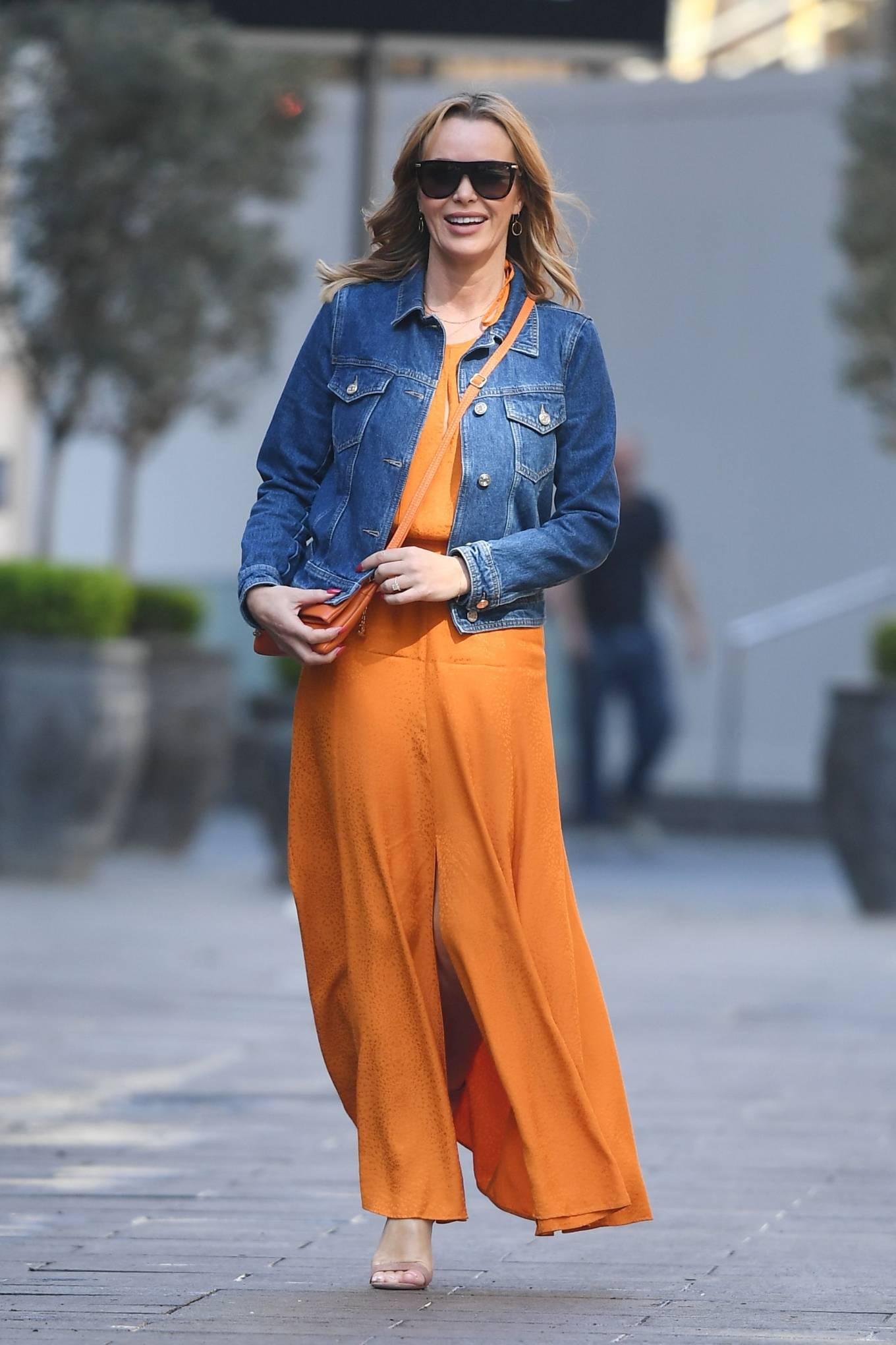 Amanda Holden - In dress leaving the Global Radio Studios in London