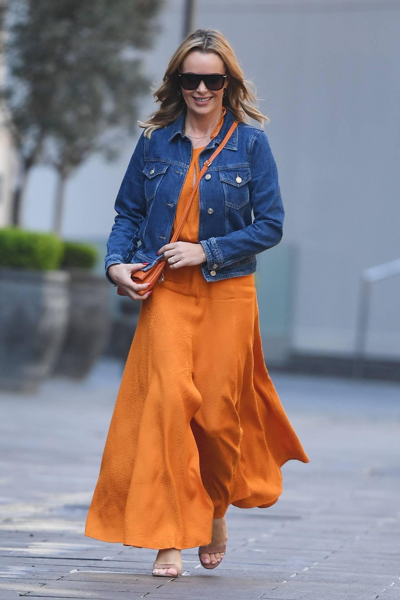 Amanda Holden 2021 : Amanda Holden – In dress leaving the Global Radio Studios in London-03