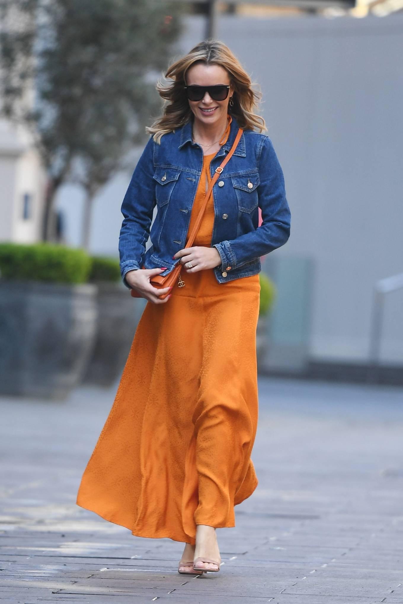 Amanda Holden 2021 : Amanda Holden – In dress leaving the Global Radio Studios in London-04