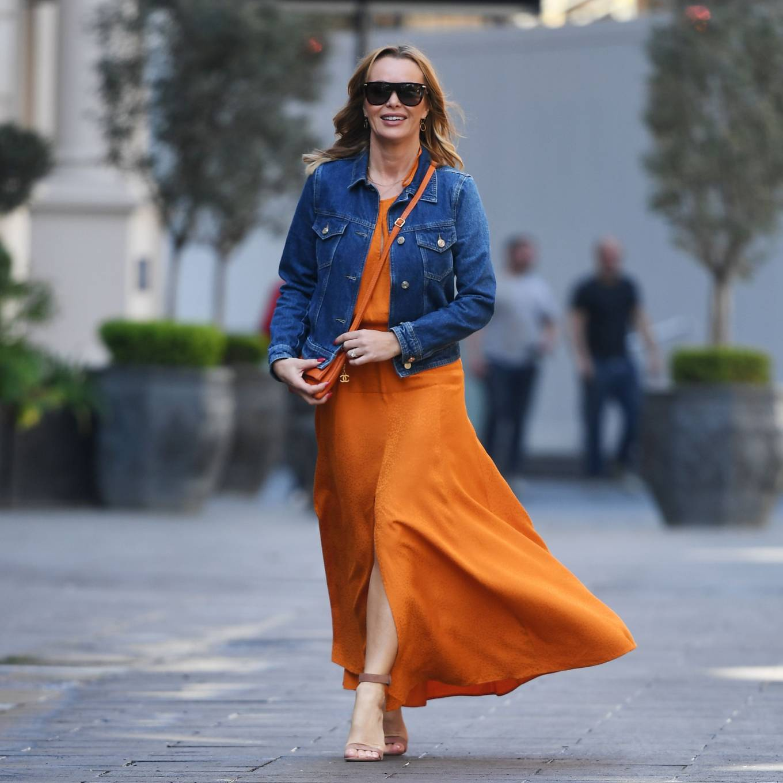 Amanda Holden 2021 : Amanda Holden – In dress leaving the Global Radio Studios in London-09