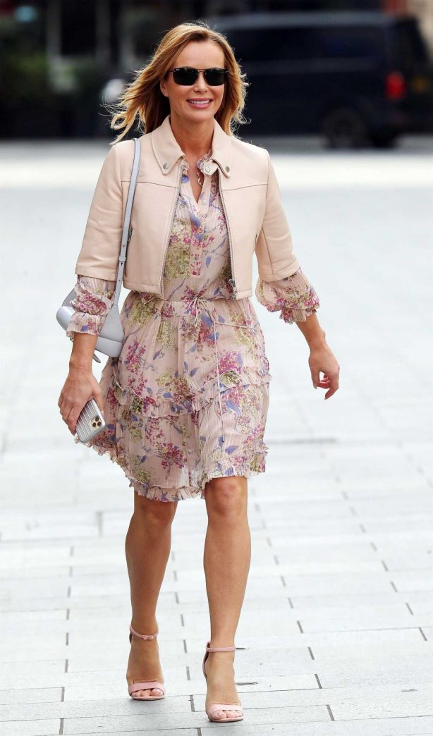 Amanda Holden in Floral Dress at Heart Radio