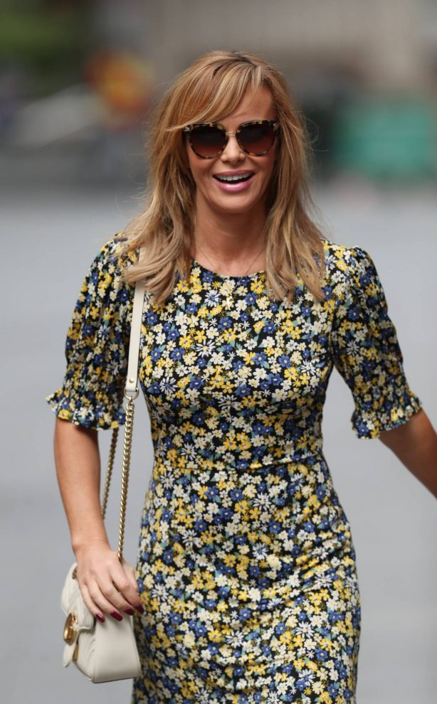 Amanda Holden in Floral Dress - Leaving Heart Radio in London