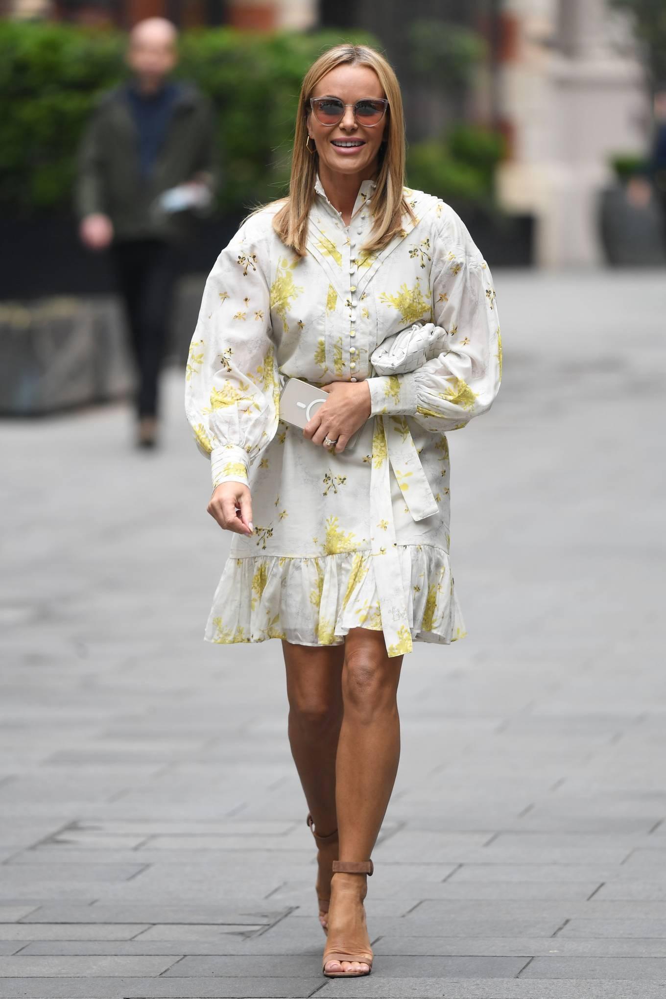 Amanda Holden - In floral mini dress at Global Radio in London