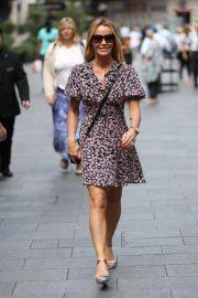 Amanda Holden in Foral Mini Dress - Exits Heart Radio Breakfast Show in London