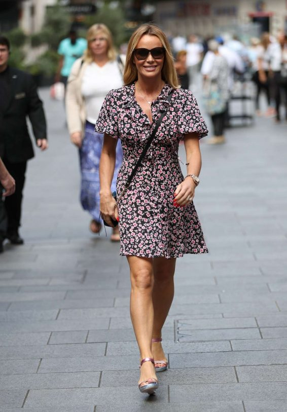 Amanda Holden in Foral Mini Dress - Exits Heart Radio Breakfast Show in London