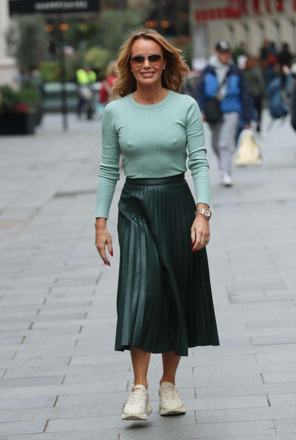 Amanda Holden in Green - Exits Heart Radio Show in London