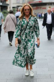 Amanda Holden in Green Floral Dress - Leaving Heart Radio in London
