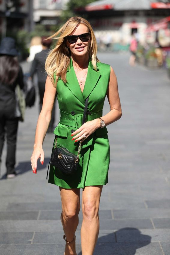 Amanda Holden in Green Mini Dress - Leaving Heart Radio in London