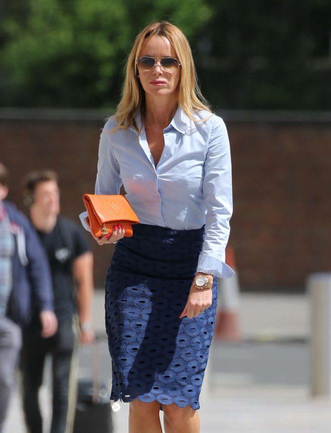Amanda Holden in Jeans Skirt at ITV Studios in London