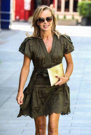 Amanda Holden in Khaki Green Dress - Exits Heart Radio in London