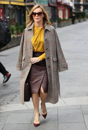 Amanda Holden - In leather dress and mustard yellow top in London